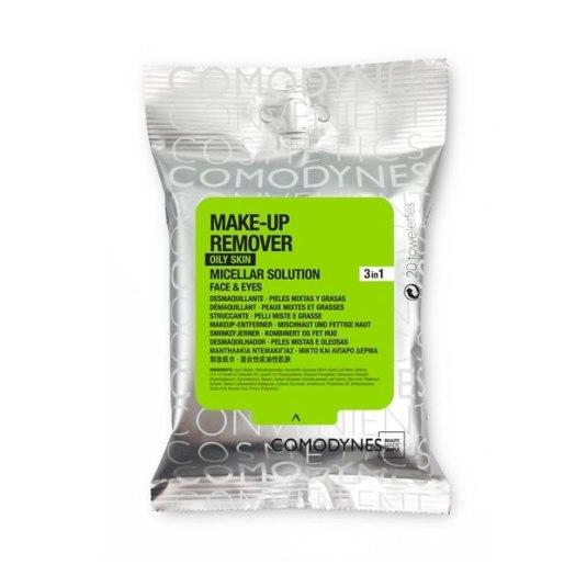 comodynes make-up remover toallitas desmaquillantes micelares piel grasa-mixta 20ud