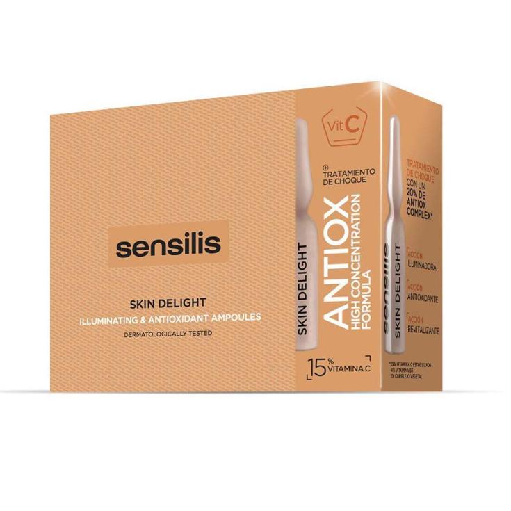 sensilis skin delight tratamiento facial iluminador, antioxidante y revitalizante ampollas 15x1,5ml