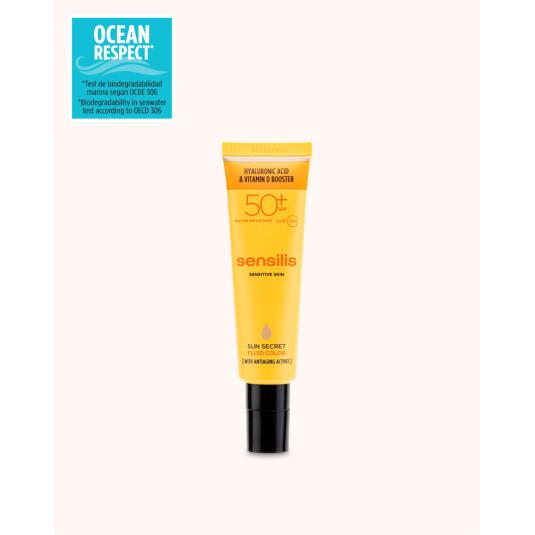 sensilis sun secret fluid color protector solar facial con color spf50+ antiedad 40ml