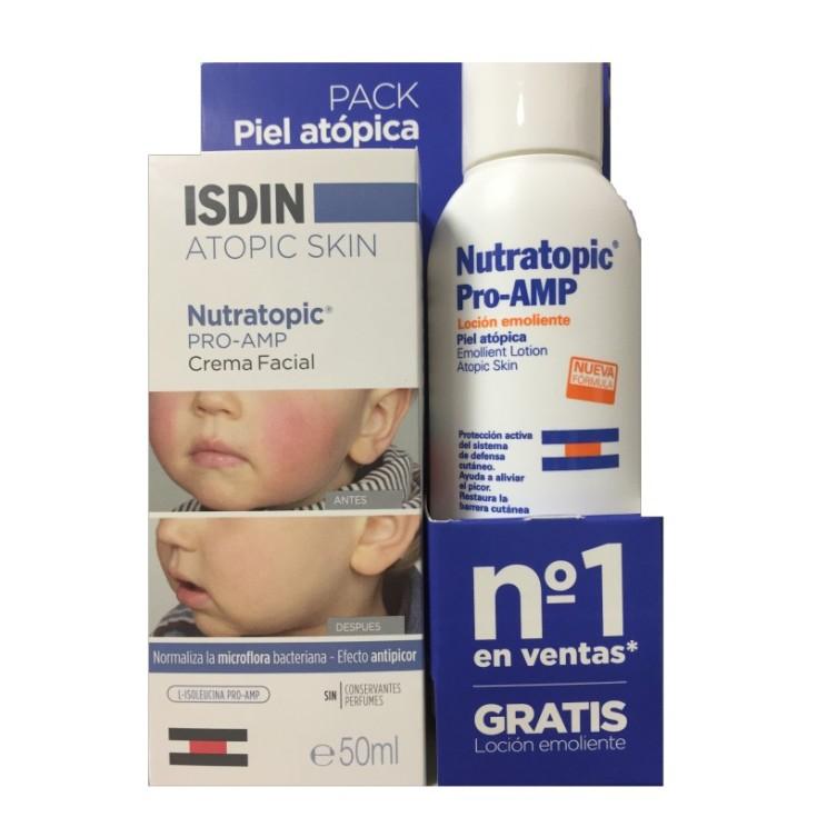 isdin utratopic pro-amp crema facial piel atopica 50ml + locion emoliente 100ml regalo