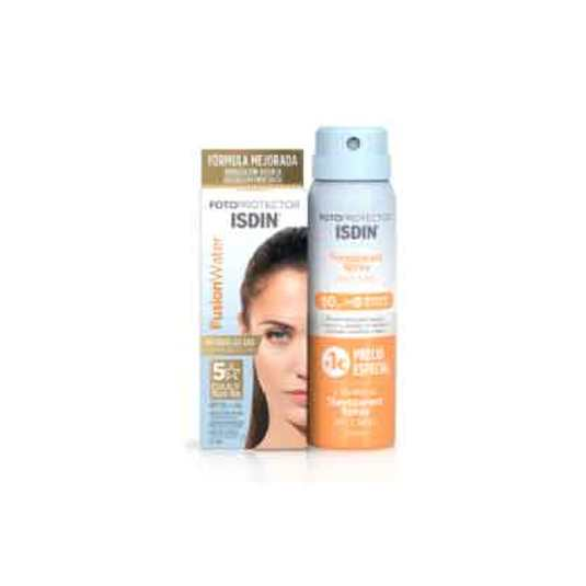 isdin pack fusion water spf50 solar facial 50ml + transparent spray dpf50 solar corporal 100ml