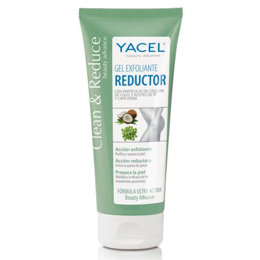 yacel gel exfoliante reductor coco, aceite te y cafe verde 200ml