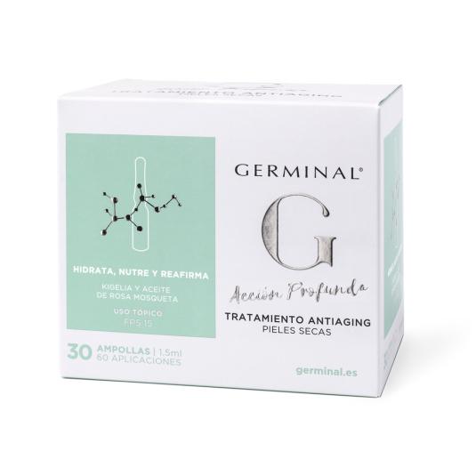 germinal acción profunda tratamiento antiaging pieles secas spf15 30 ampollas