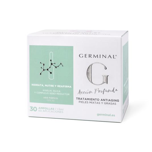 germinal acción profunda tratamiento antiaging pieles mixtas y grasas spf30 30 ampollas