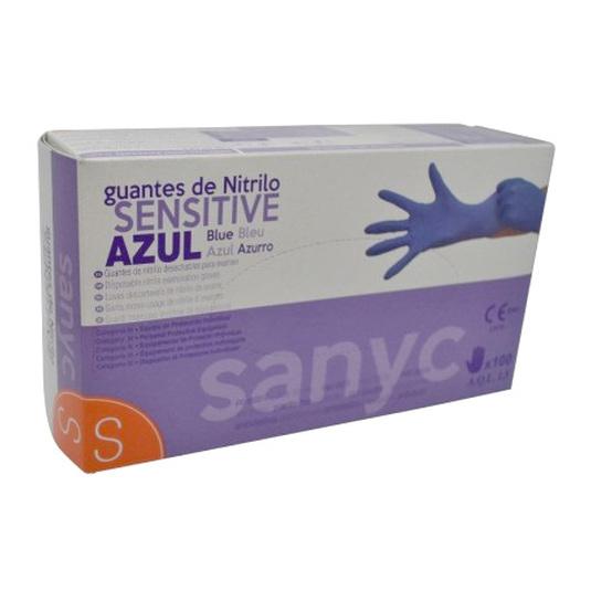 guantes sanyc nitrilo sensitive talla pequeña 100ud