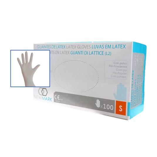 new mark guantes latex con polvo talla s 100 unidades