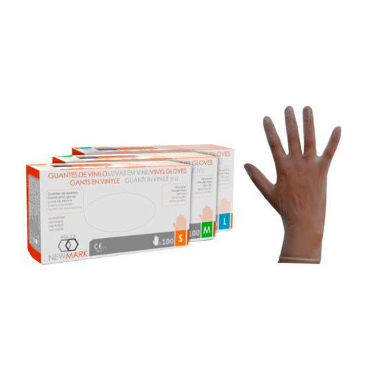 new mark guantes de vinilo sin polvo tallas m, s o g caja 100 unidades