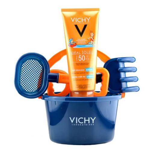 vichy ideal soleil leche protectora corporal y facial spf50 niños + recalo cubo playa