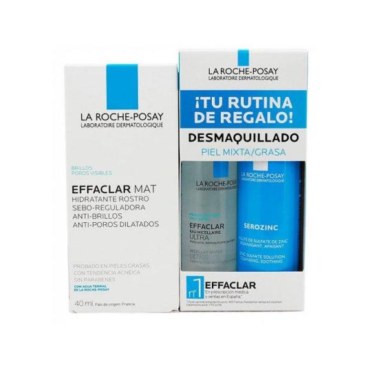 la roche-posay effaclar mat oily skin 40ml set hidratante-limpieza piel mixta-grasa 3 piezas