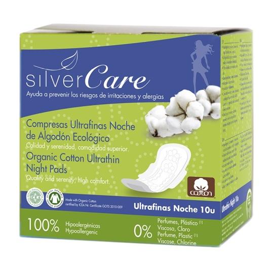 silvercare algodon bio compresas ultrafinas noche con alas 10uds