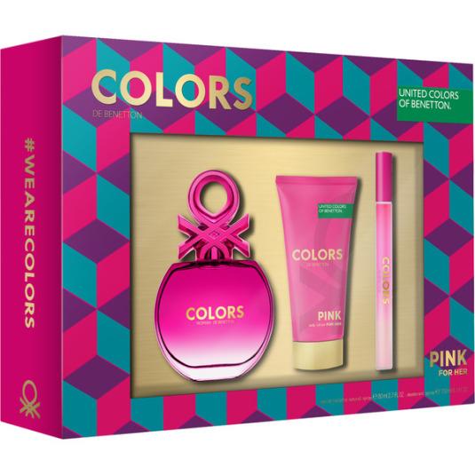 benetton pink colors eau de toilette 50ml estuche regalo 3 piezas