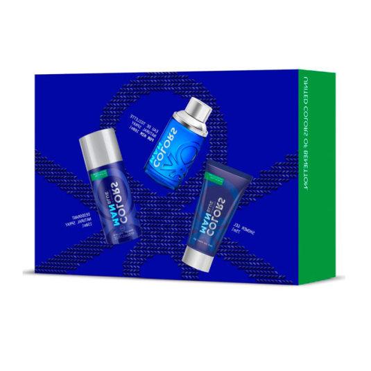 benetton colors blue man eau de toilette 100ml estuche 3 piezas