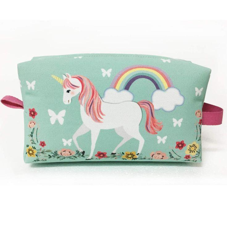 neceser tela verde unicornio 19x12cm