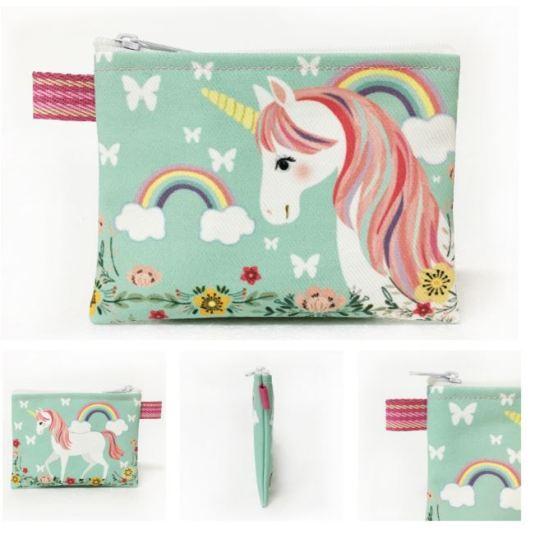monedero tela verde unicornio 12x10cm