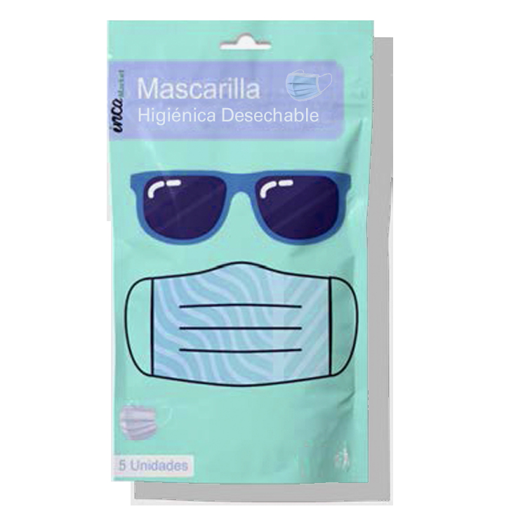 mascarilla higienica 3 capas 5 unidades (0,20/unidad)