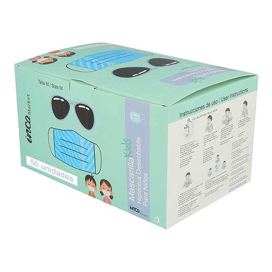 mascarilla higienica infantil surtida caja 50ud (0,90 unidad)