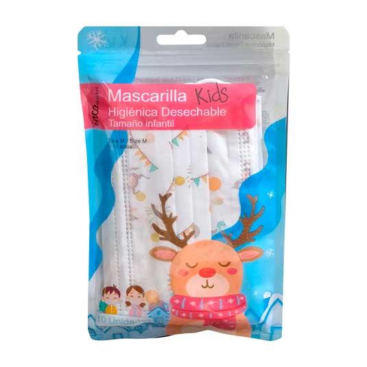 mascarilla higienica infantil motivos navideños 10 unidades