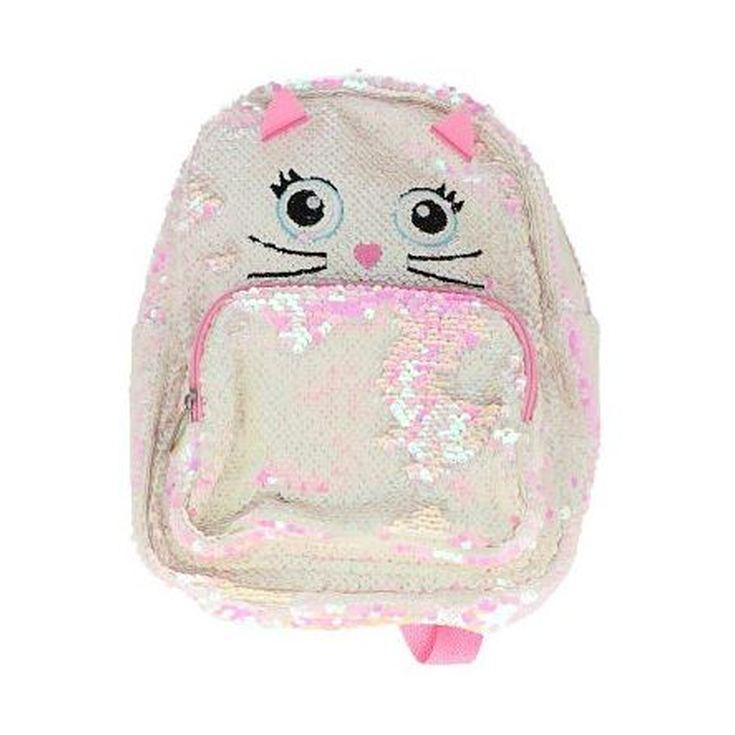 mochila infantil lentejuelas gatito