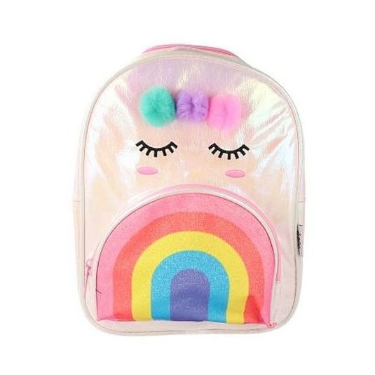 mochila de tela brillante modelo arco iris - unicornio infantil