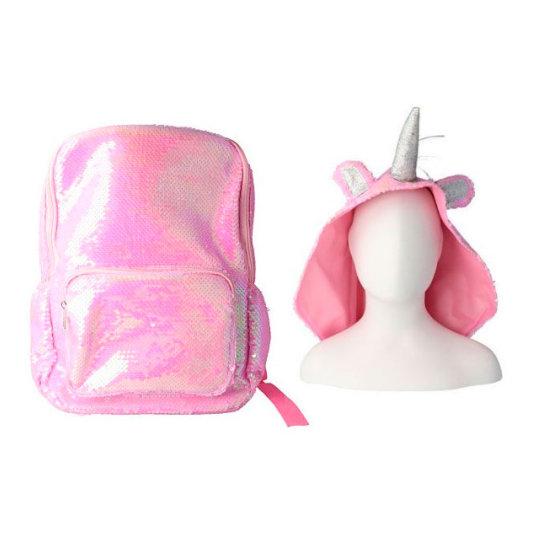 mochila brillante con gorro unicornio rosa infantil