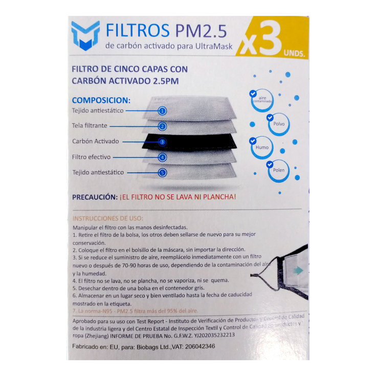 filtro de carbon activo para mascarilla higienica pack 3unds
