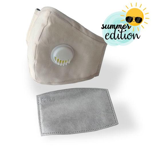 mascarilla ultramask protectora lavable con valvula y con filtro extraible de carbon activo color beige