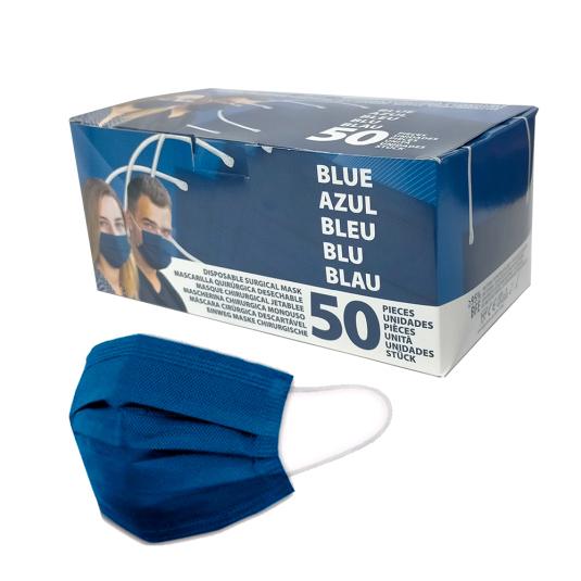 mascarilla quirurgica tipo i adulto azul marino caja 50 unidades