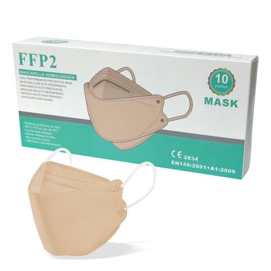 mascarilla ffp2 forma pez crema caja 10 unidades