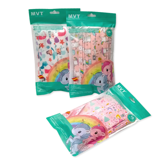 mascarillas higienicas infantiles diseños pack 10 unidades