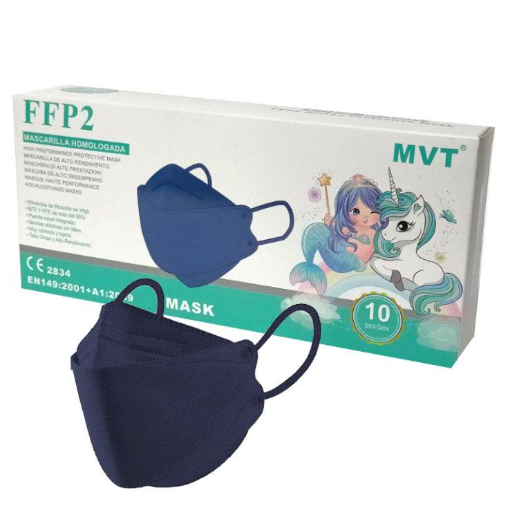 mascarilla ffp2 forma pez infantil azul marino caja 10 unidades