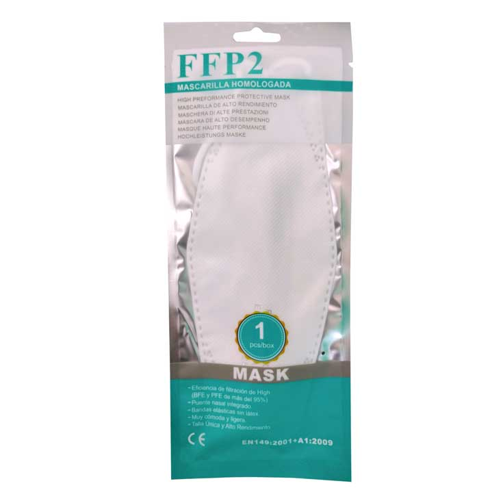 mascarilla ffp2 forma pez blanca caja 10 unidades