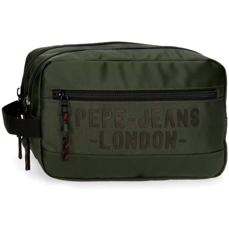 pepe jeans bromley neceser verde dos compartimentos adaptable verde 26x16x12cm