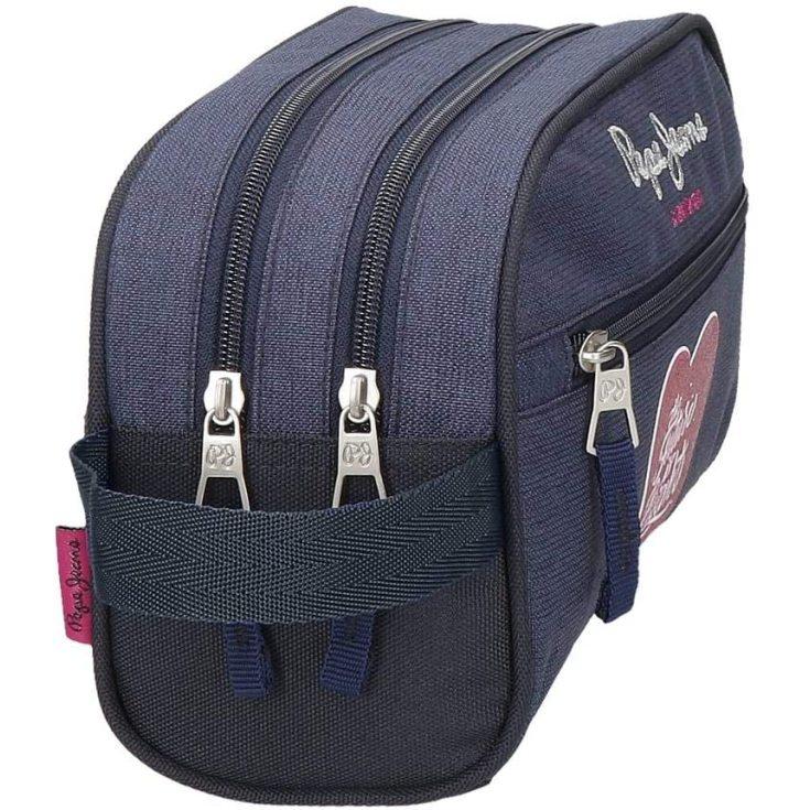 pepe jeans bright neceser dos compartimentos azul 26x16x12cms