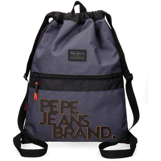 pepe jeans troy mochila saco azul 35x46cms