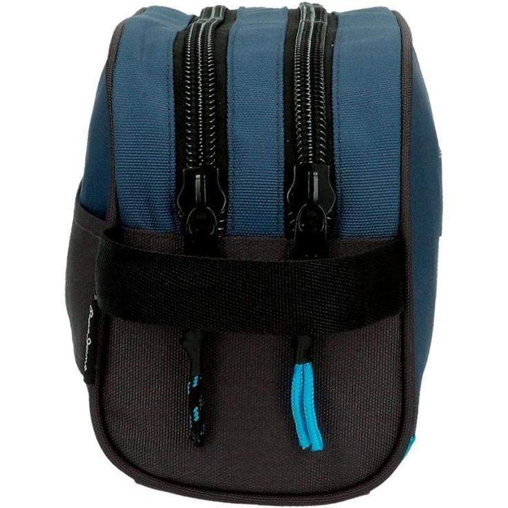 pepe jeans skyler neceser doble compartimento adaptable azul 26x16x12cms