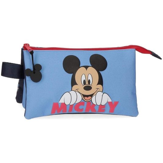 disney mickey moods estuche portatodo triple compartimento con cremallera 22x12x5cm