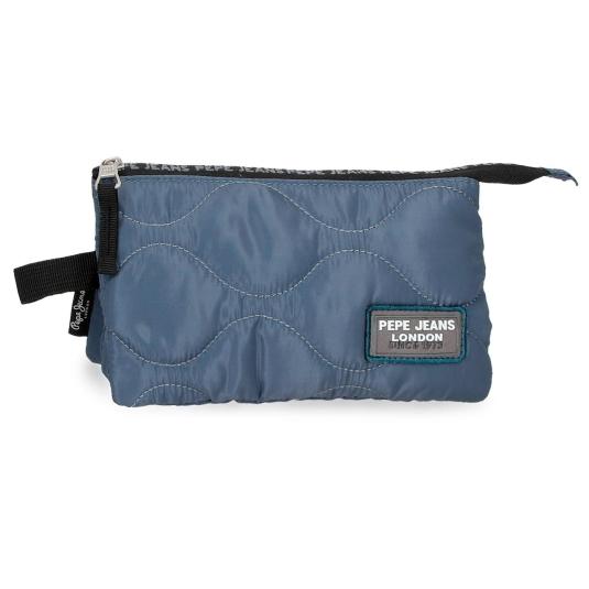pepe jeans orson marino estuche 3 compartimentos azul 12x22xcm
