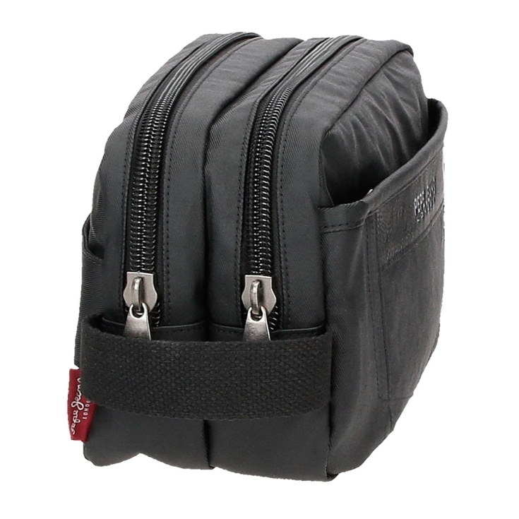 pepe jeans paxton neceser negro 2 compartimentos adaptable 26x16x12cm
