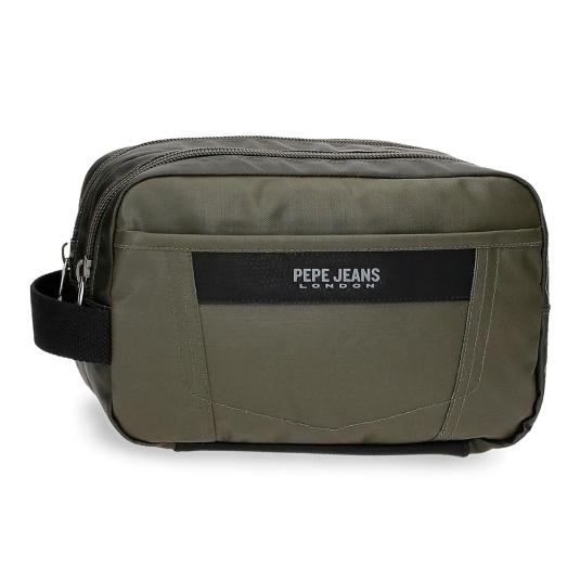 pepe jeans paxton neceser kaki 2 compartimentos adaptable 26x16x12cm