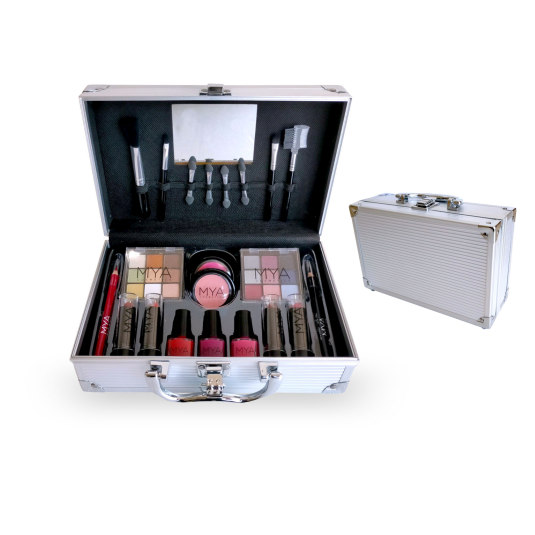 mya travel maletin de maquillaje silver 25,2x16,2x9cm