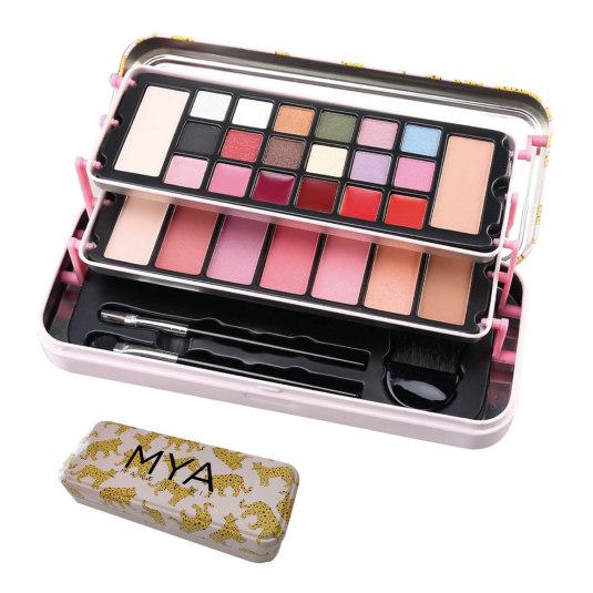 mya makeup kit de maquillaje estuche metalico 22x9x4,3cm