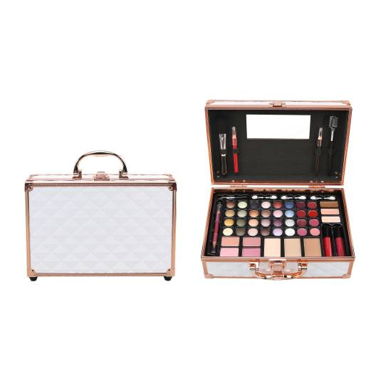 mya travel kit lux white matetin maquillaje metalico blanco
