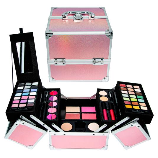 mya travel cube glitter pink maletin maquillaje profesional 55 piezas