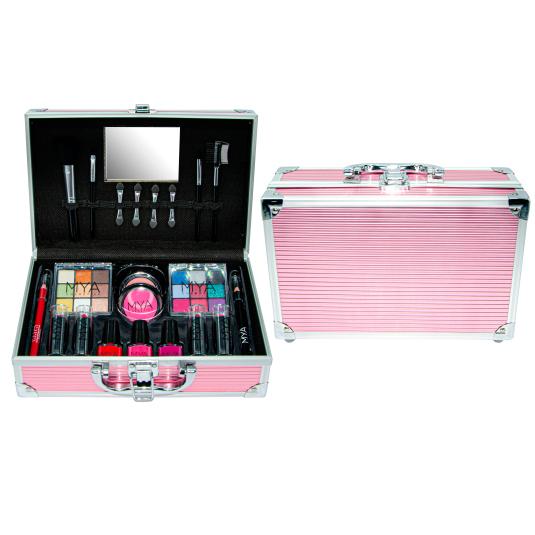 mya travel metalic pink maletin de maquillaje metalico