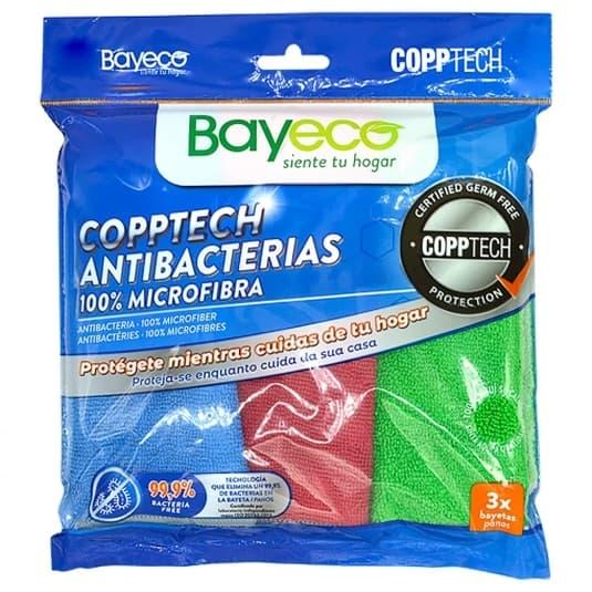 bayeco copptech microfribra microfibra antibacterias 3 unidades