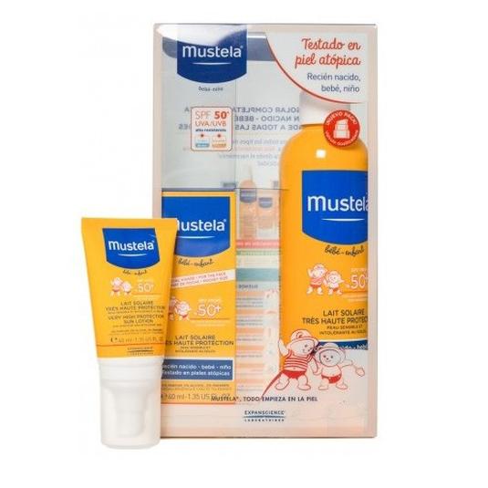 mustela set solares bebe-niño leche corporal solar spf50 300ml + crema facial solar spf50 40ml