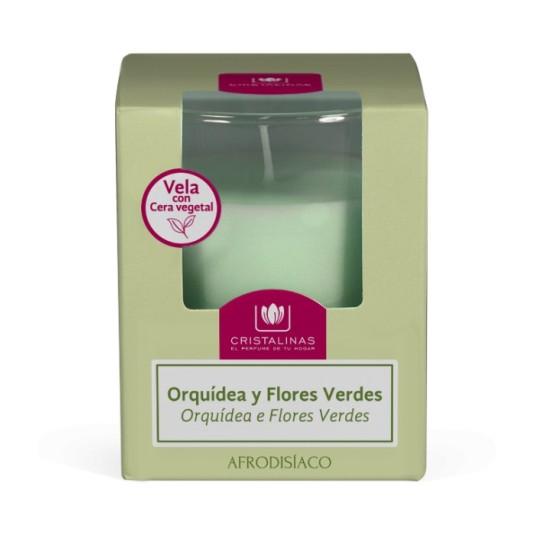 cristalinas ambientador vela orquidea & flores verdes
