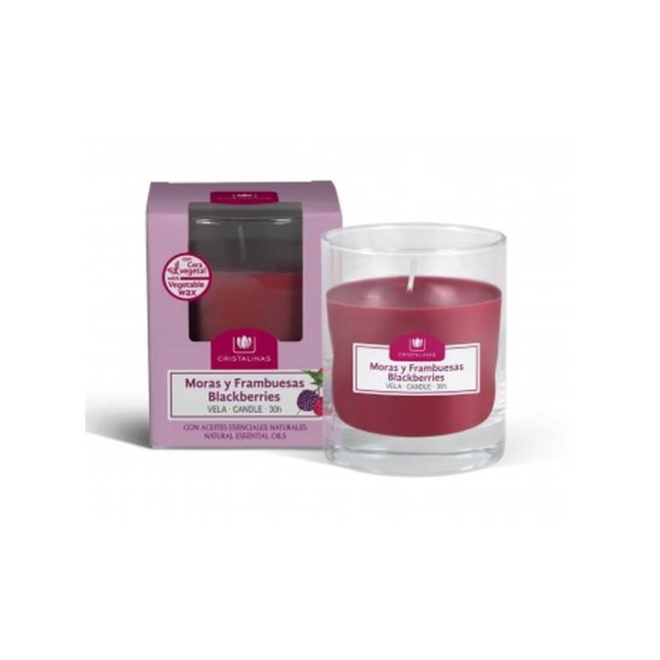 cristalinas ambientador vela aroma moras y frambuesas