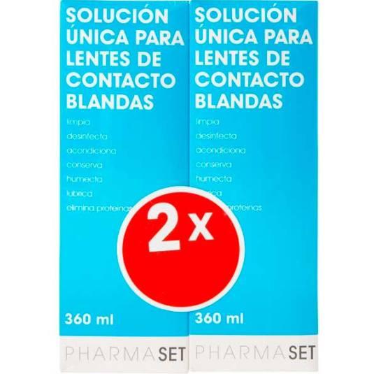 pharmaset solucion unica lentes de contacto duplo 2x360ml