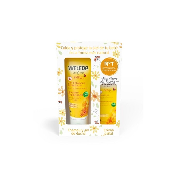 weleda bebe pack champu y gel 200ml + crema pañal 30ml